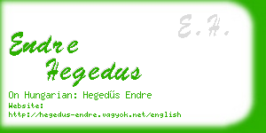 endre hegedus business card